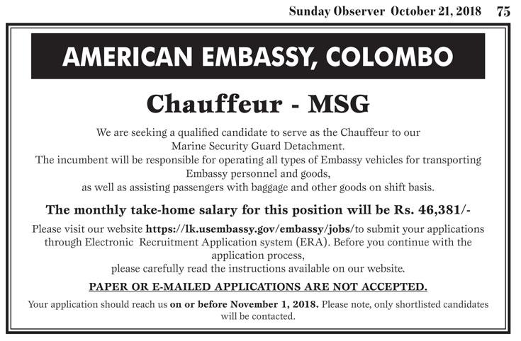 Chauffeur - American Embassy Colombo - Gazette Sri Lanka ගැසට් lk