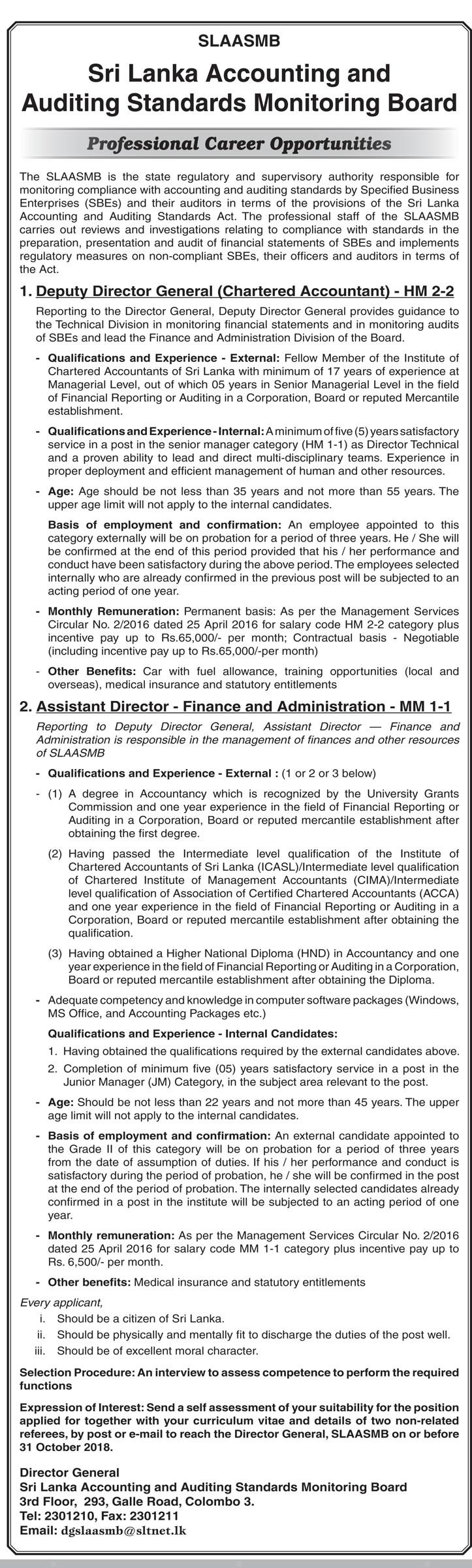 Deputy Director General Assistant Director Sri Lanka Accounting