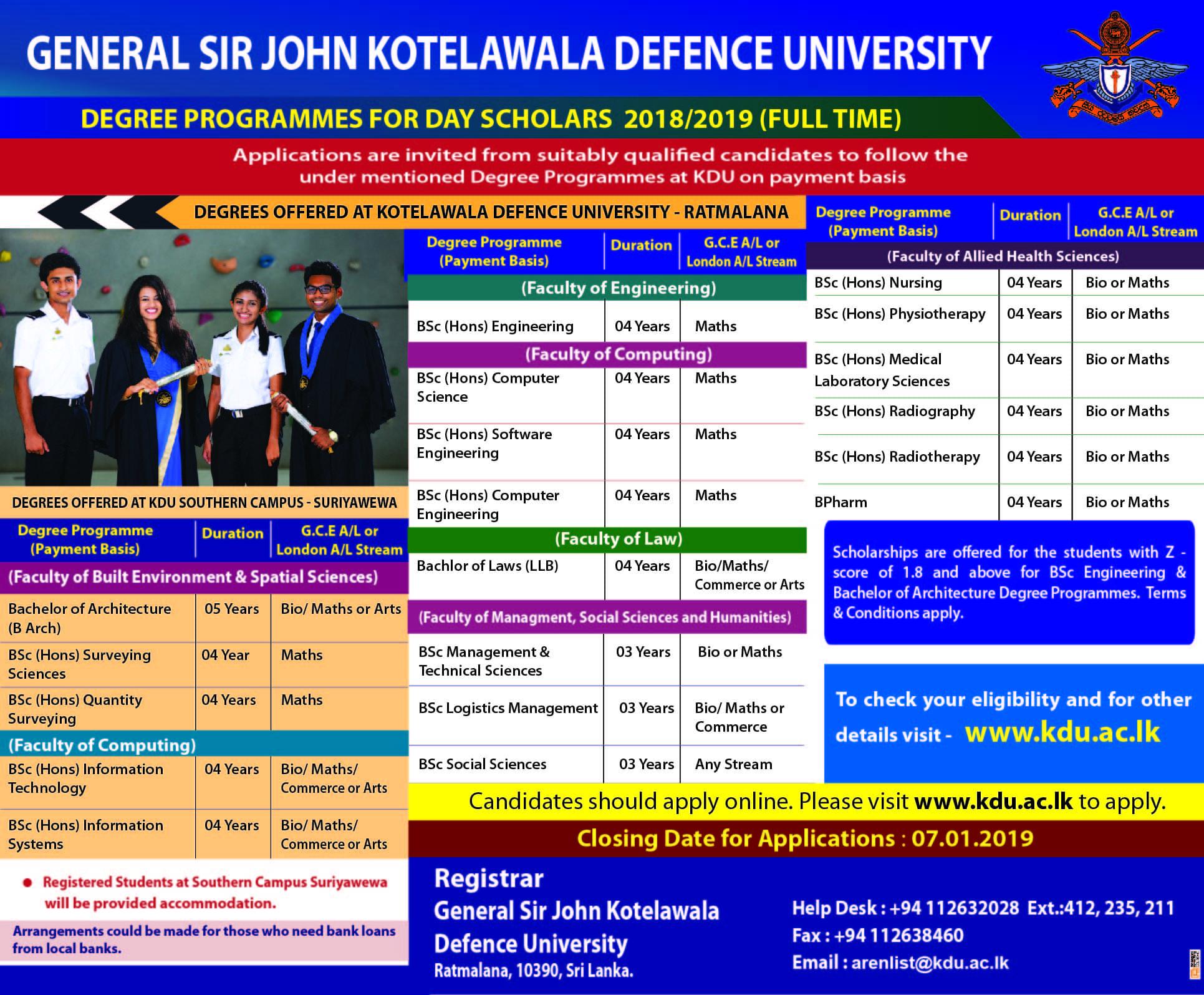 Kotelawala Defence University Application Form 20192020
