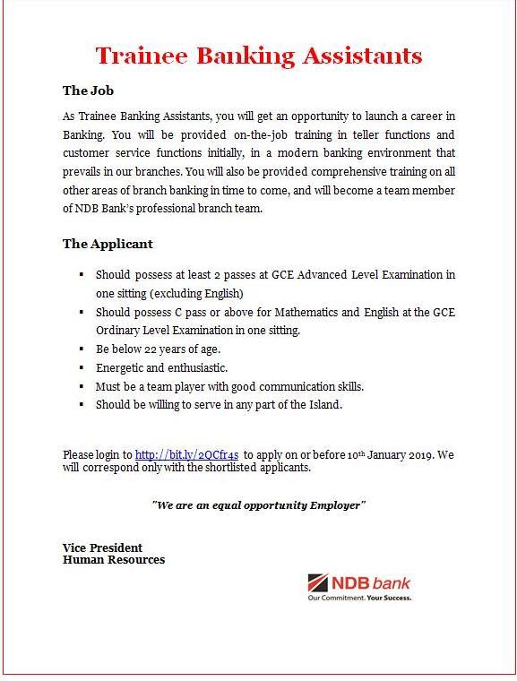 Trainee Banking Assistants - NDB Bank Vacancies 2019 - Gazette lk