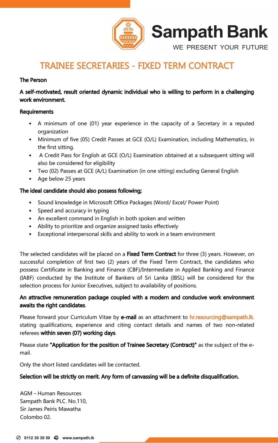 Trainee Secretaries - Sampath Bank PLC - Job Vacancies ...
