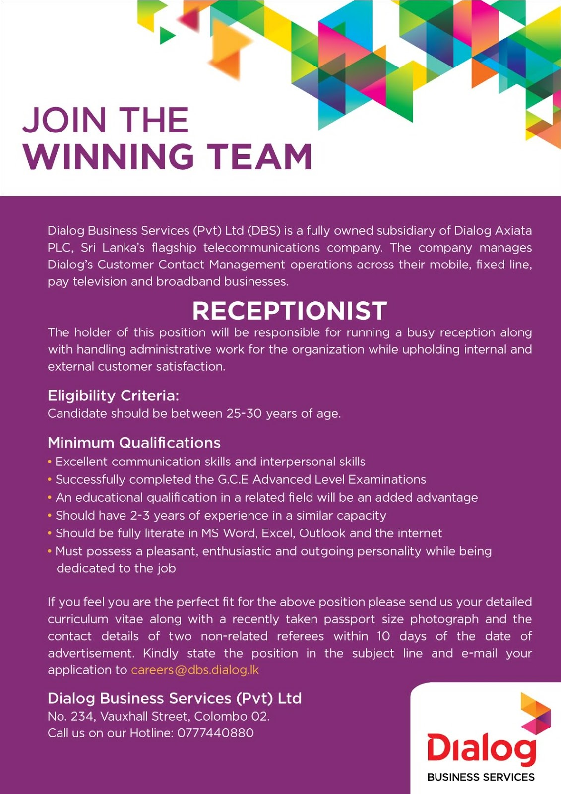 Receptionist Dialog Business Solutions 1 Dialog Axiata