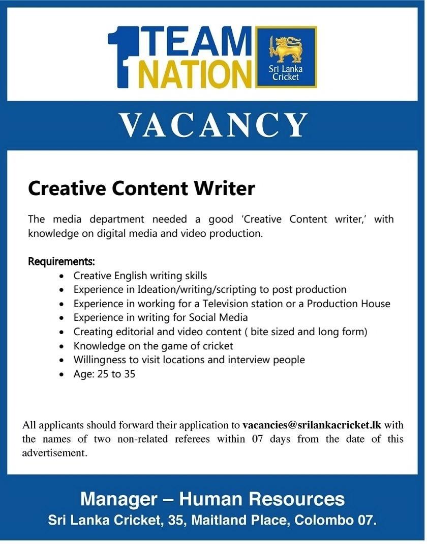Creative Writing Jobs In Sri Lanka ,