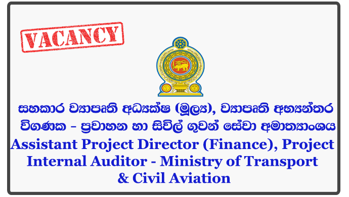 Assistant Project Director (Finance), Project Internal Auditor - Ministry of Transport & Civil Aviation