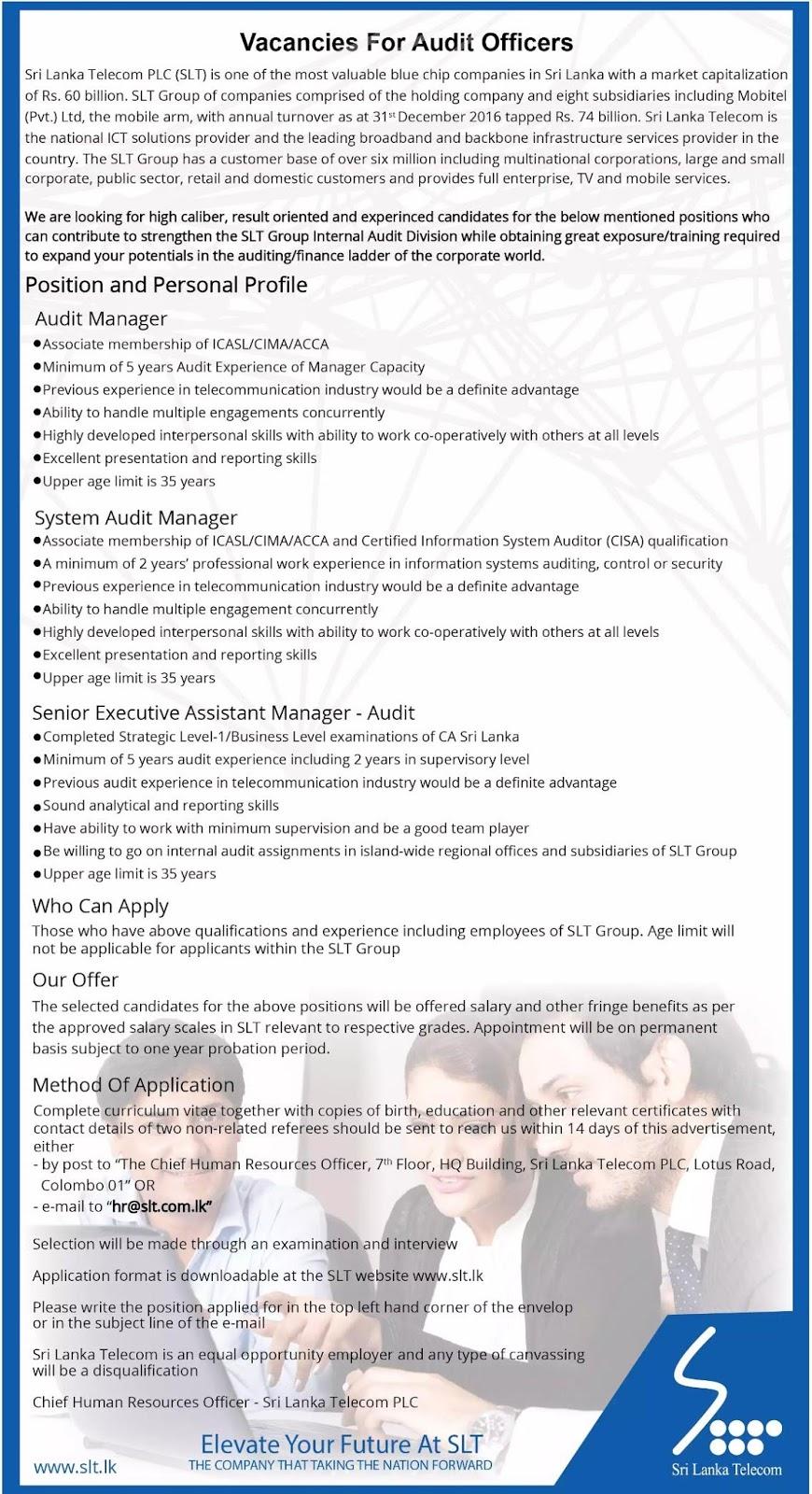 Sri Lanka Telecom Audit Vacancies Gazette Sri Lanka ගැසට් Lk