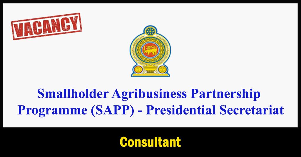 Consultant - Smallholder Agribusiness Partnership Programme (SAPP) - Presidential Secretariat