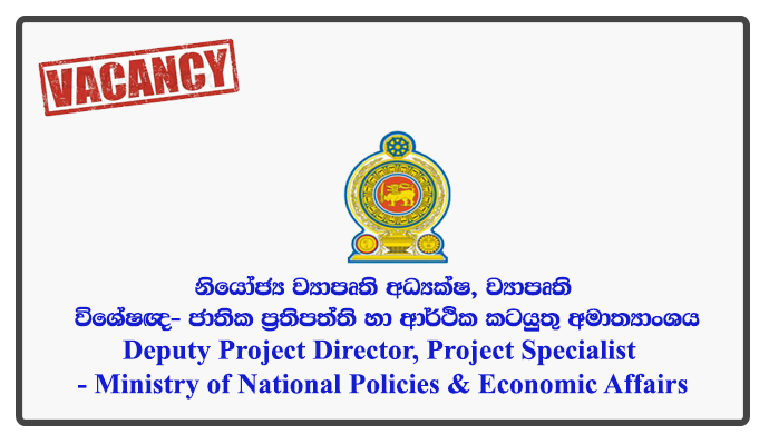 Deputy Project Director, Project Specialist (Land Acquisition, Civil Engineering, Legal) - Ministry of National Policies & Economic Affairs