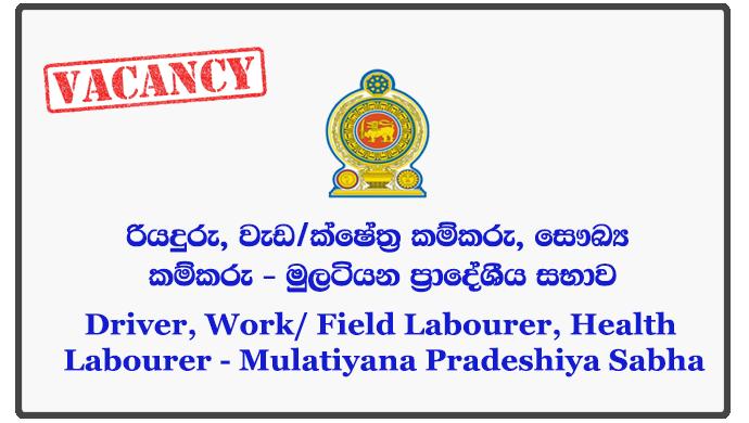 Driver, Work/ Field Labourer, Health Labourer - Mulatiyana Pradeshiya Sabha