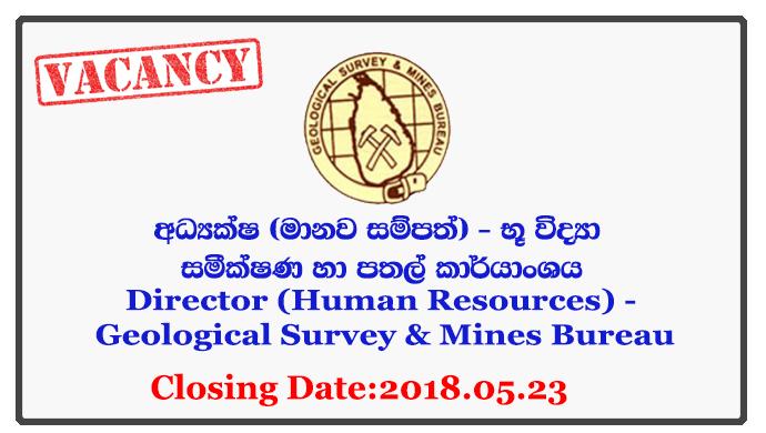 Director (Human Resources) - Geological Survey & Mines Bureau Closing Date: 2018-05-23