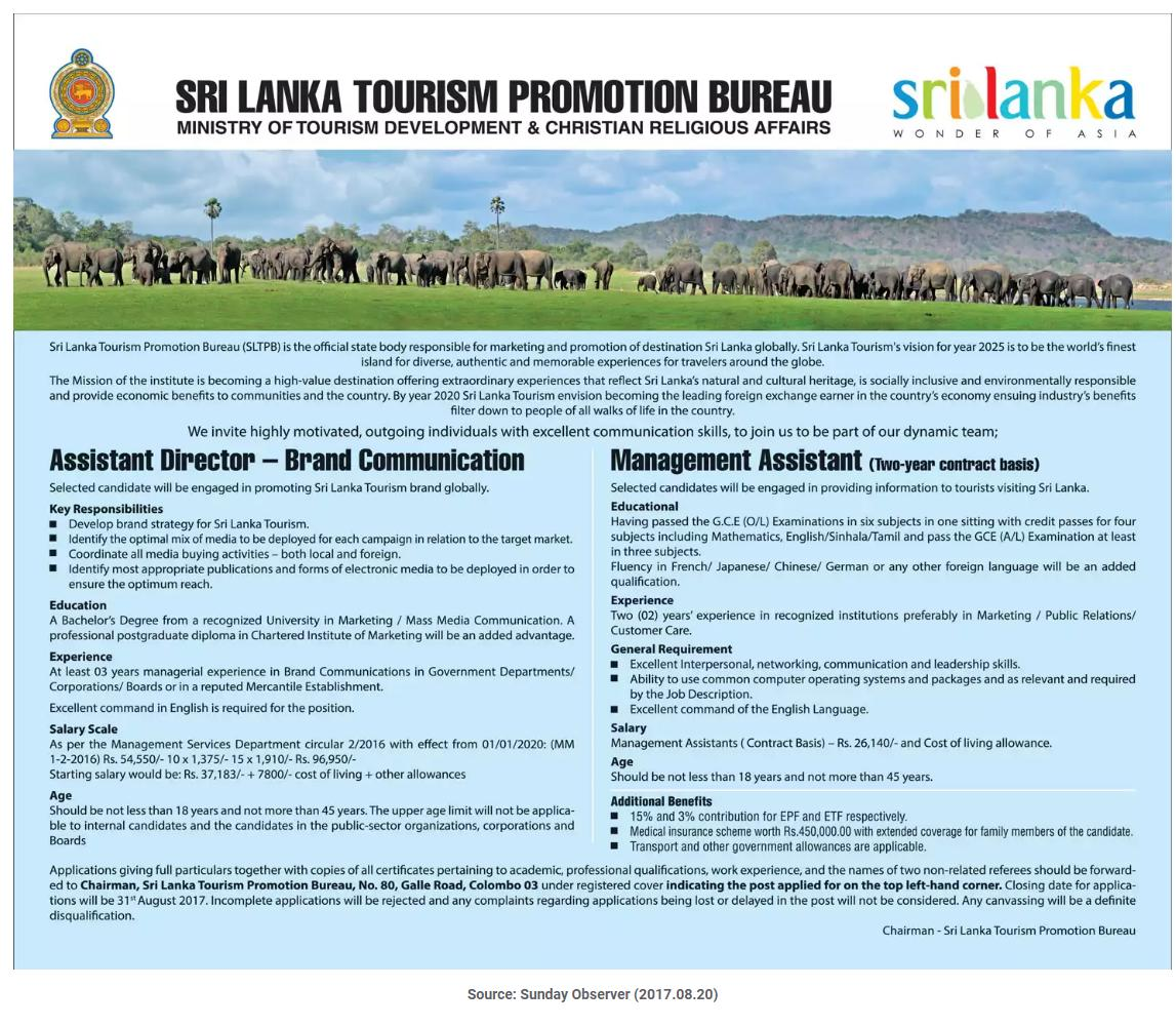 Management assistant sri lanka tourism promotion bureau for Bureau government