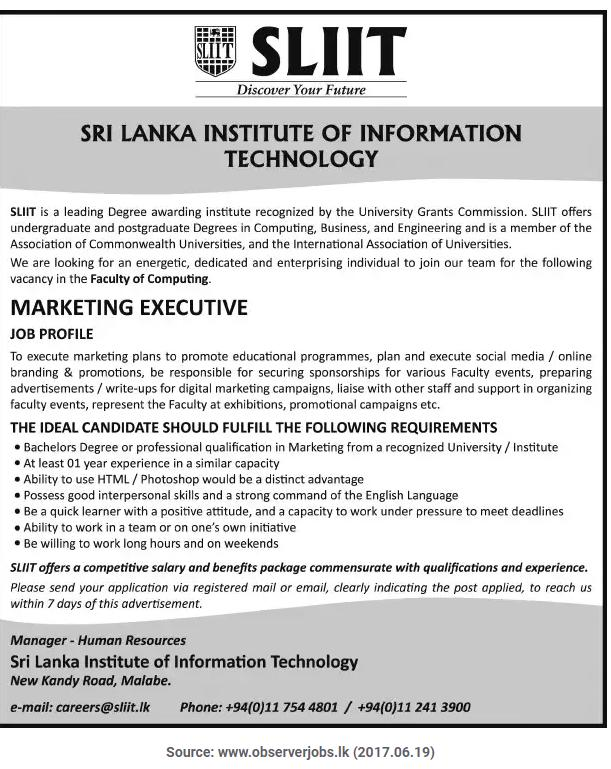 Marketing Executive Vacancy  Sliit  Job Vacancies  GazetteLk