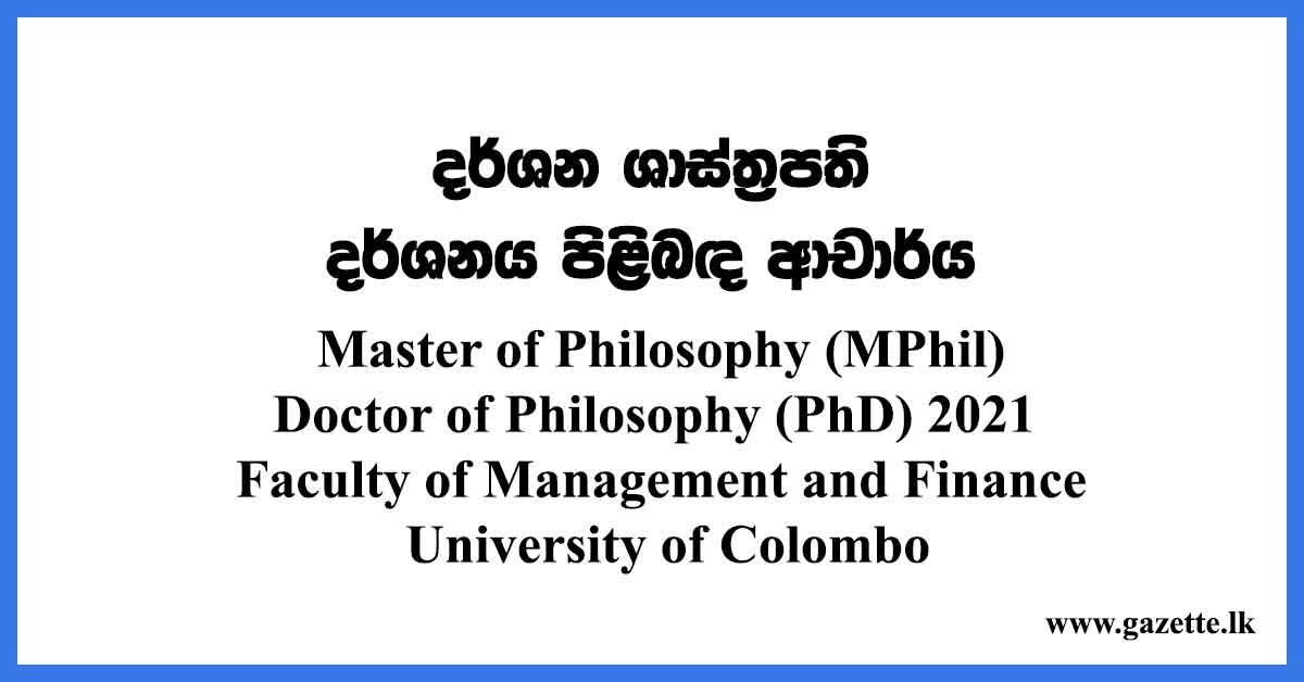 Master of Philosophy