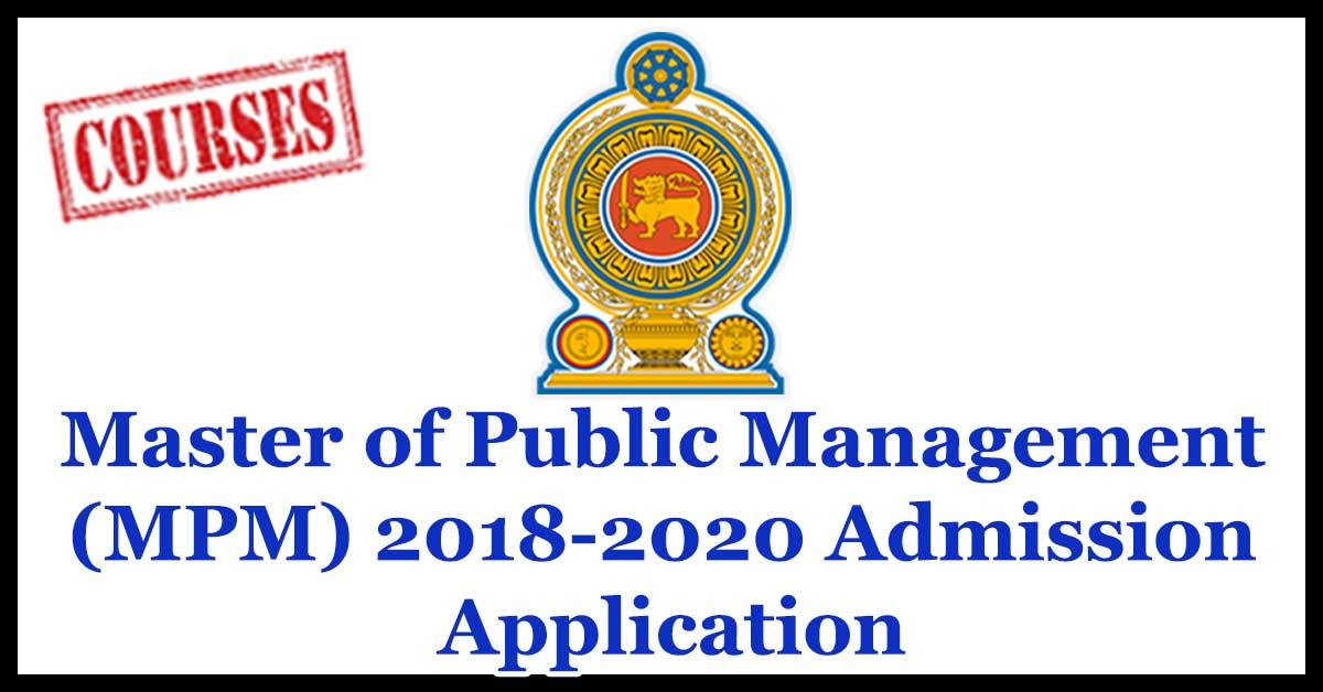 MPM Admission for New Intake 2018 - 2020 - Sri Lanka Institute of Development Administration (SLIDA) School of Postgraduate Studies (SPS)