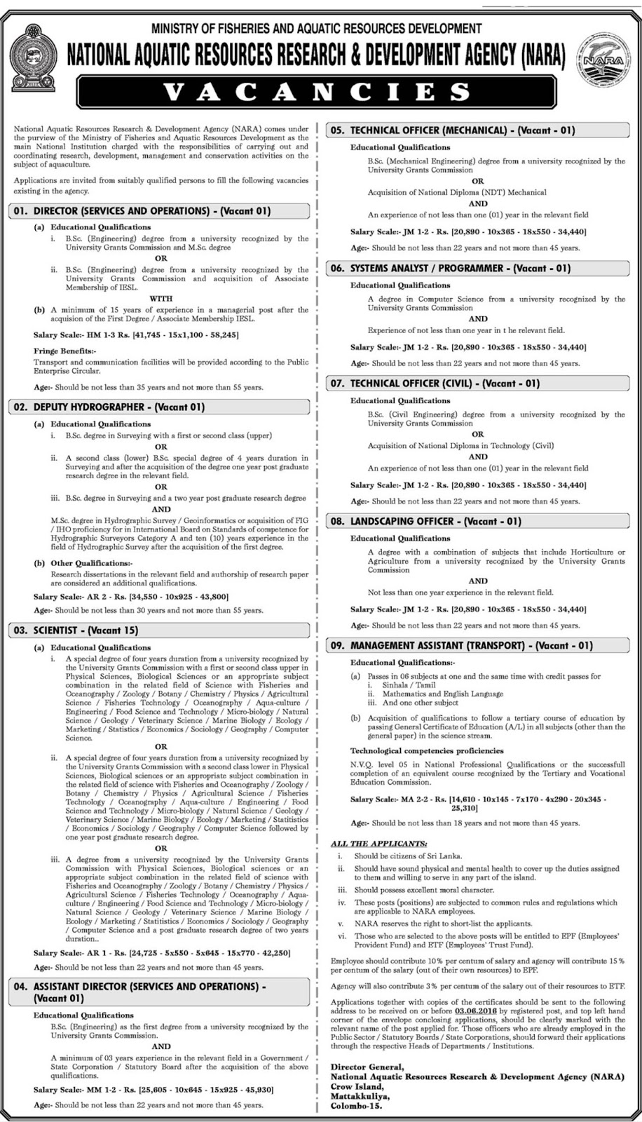 Nara 23 Vacancies Job Vacancies Gazette Lk