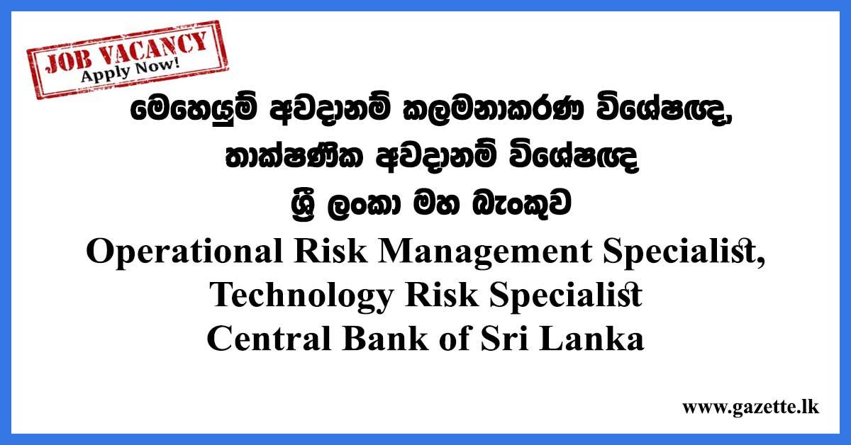 Operational Risk Management Specialist, Technology Risk Specialist - Central Bank of Sri Lanka