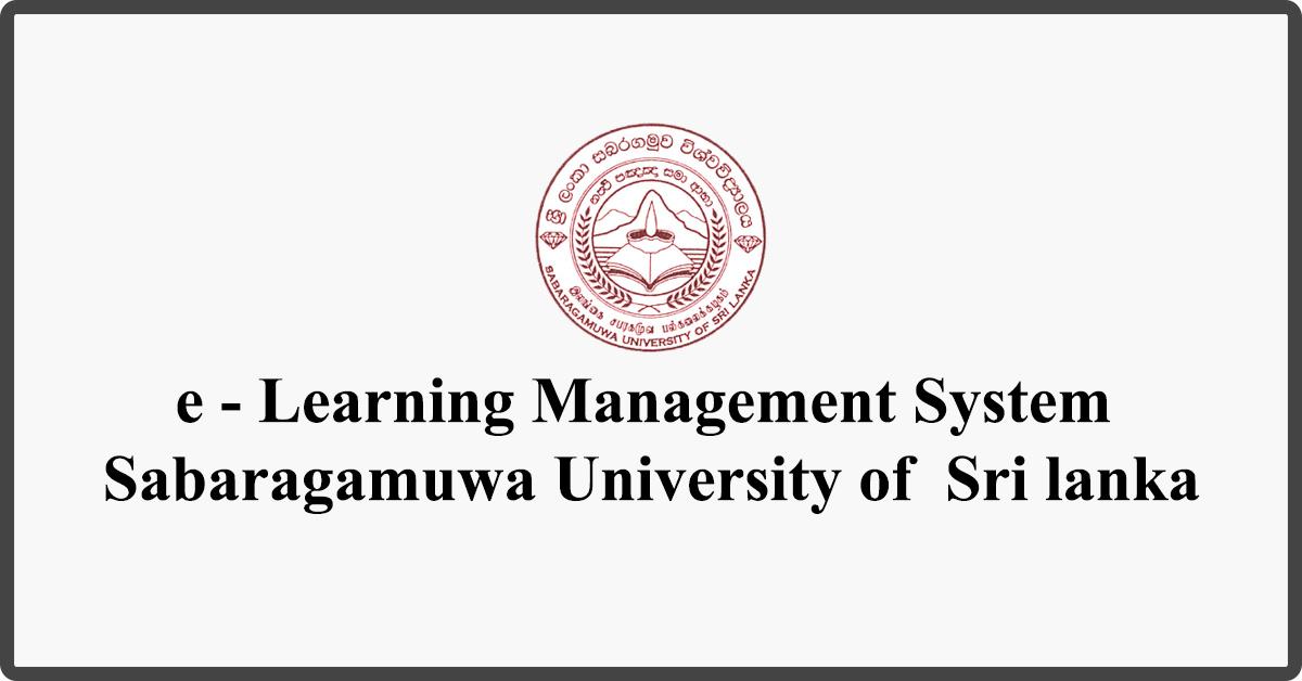 e - Learning Management System - Sabaragamuwa University of Sri lanka