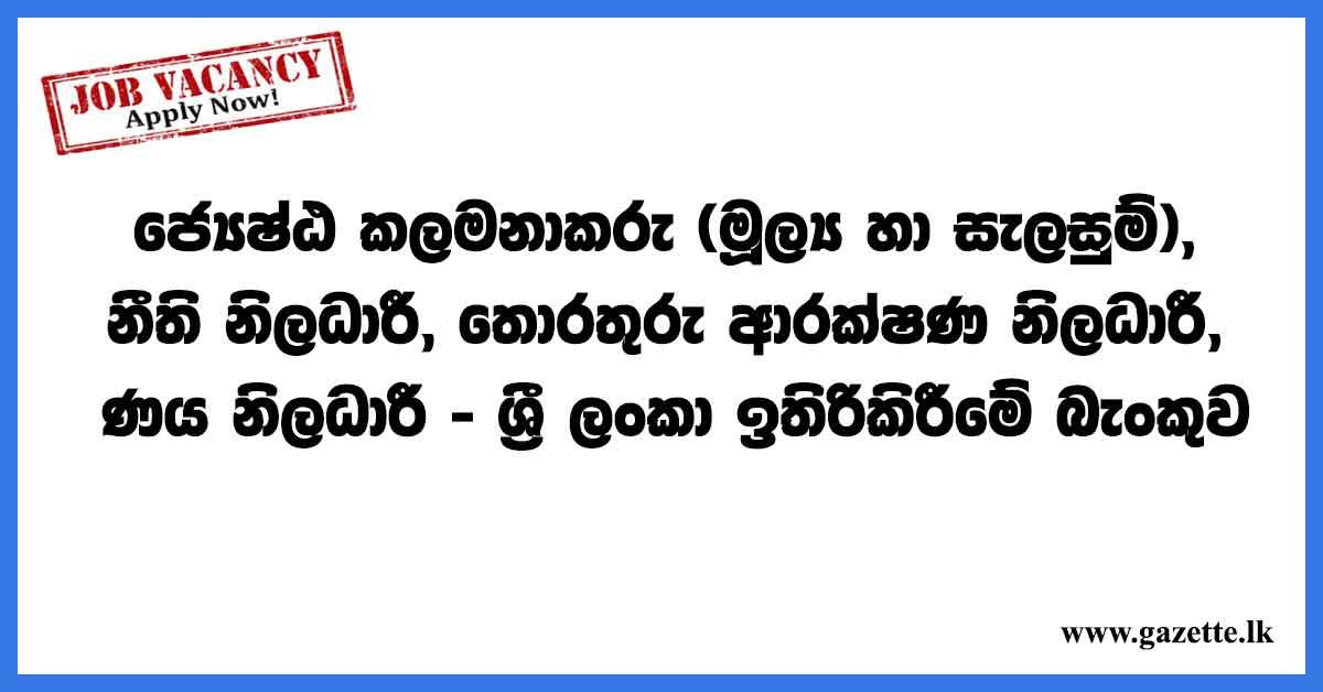 Senior-Manager-(Finance-&Planning),-Legal-Officer,-Information-&-Security-Risk-Officer,-Credit-Officer---Sri-Lanka-Savings-Bank