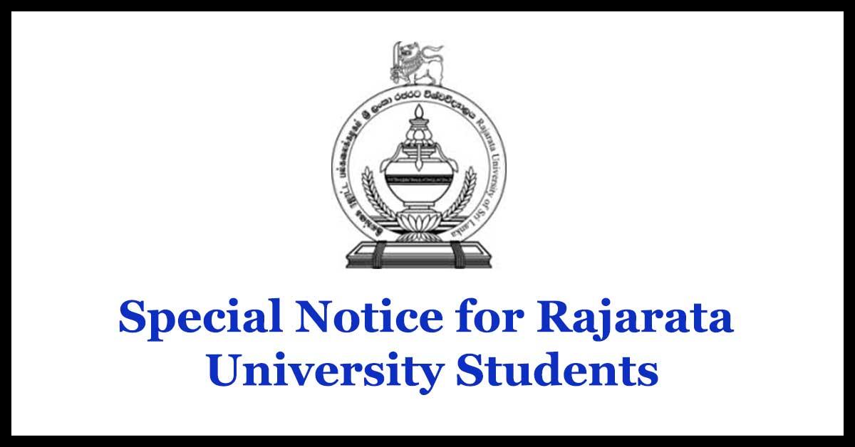 Special Notice for Rajarata University Students
