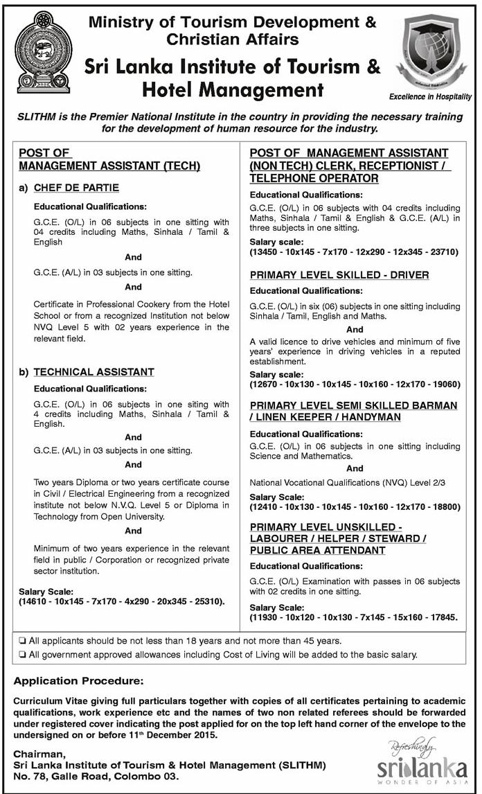 vacancies sri lanka institute of tourism  u0026 hotel