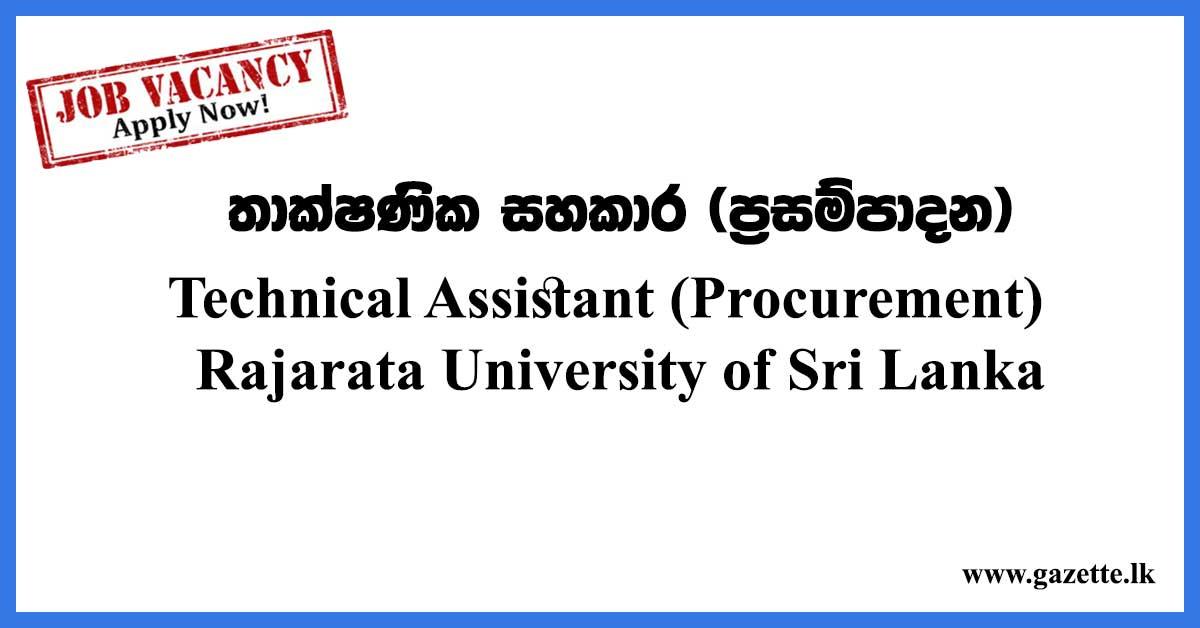 Technical-Assistant-(Procurement)---Rajarata-University-of-Sri-Lanka