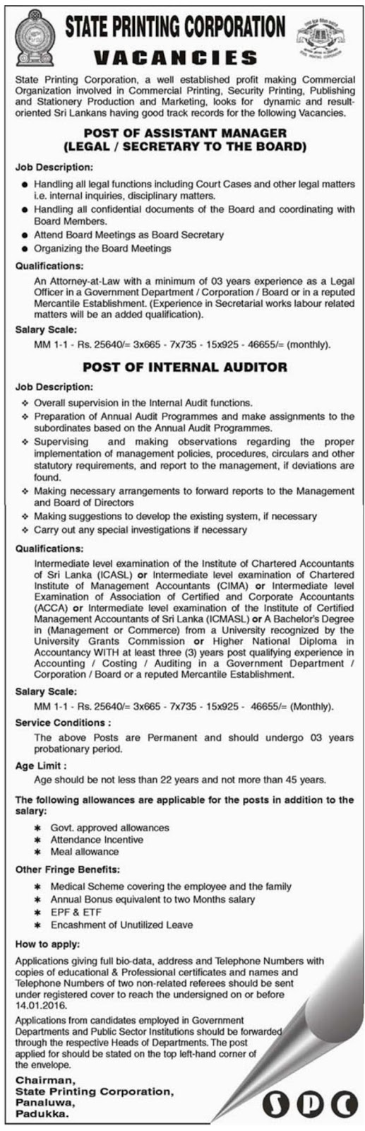 spc assistant manager internal auditor