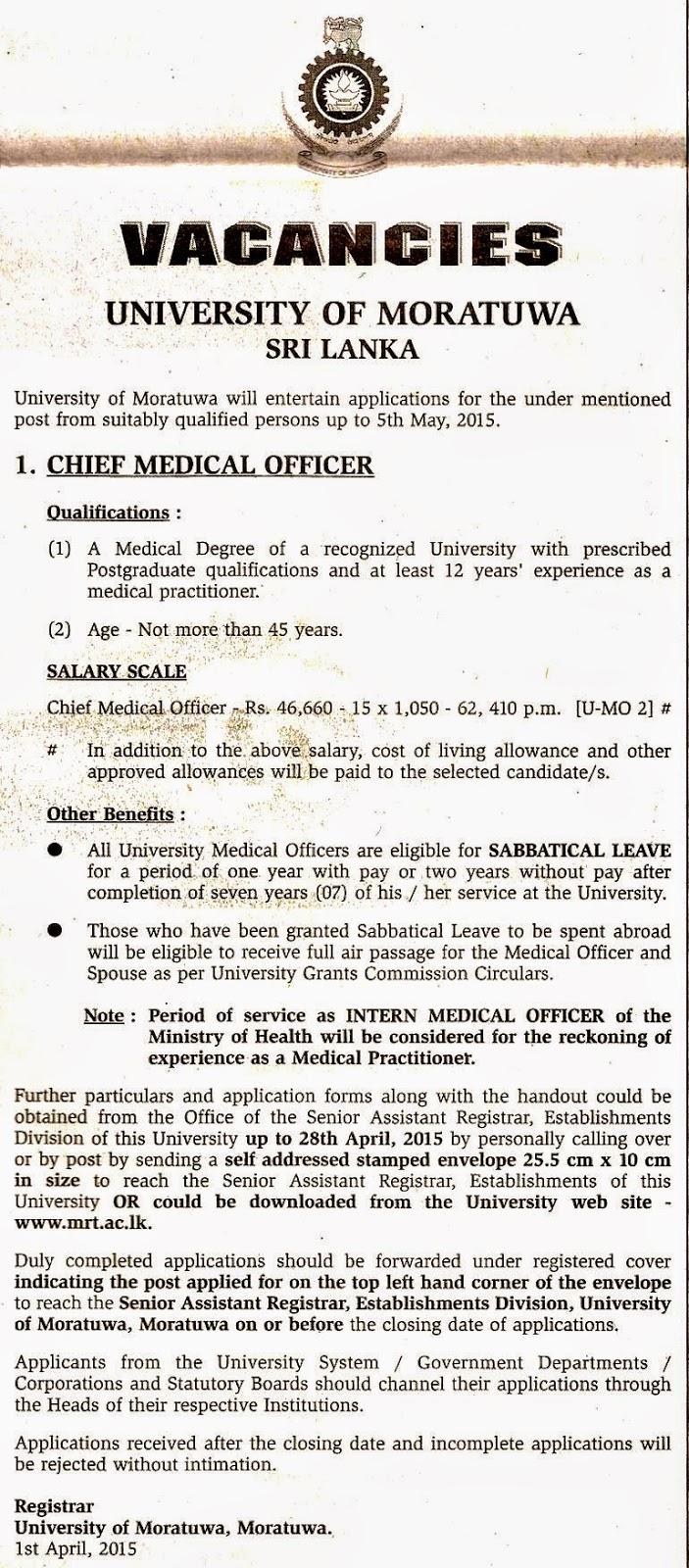 Chief Medical Officer Vacancies - University of Moratuwa ...