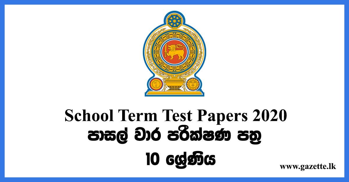 School Term test Papers (2020) Grade 10
